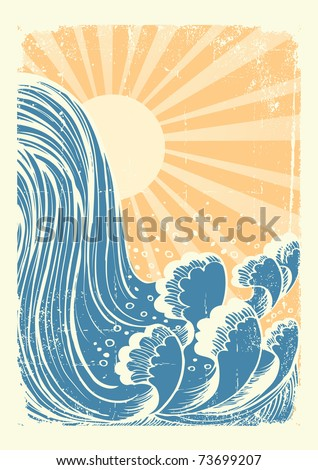 Waterfall.Vector grunge blue water waves background with sun