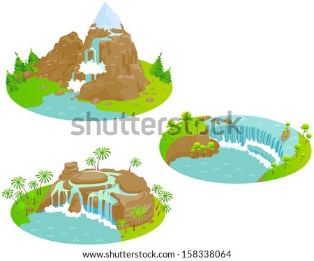 waterfalls fun cartoon map