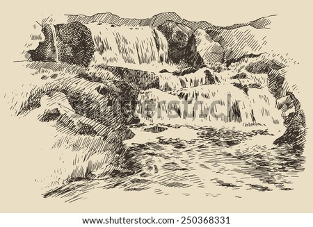 Waterfalls landscape, vintage engraving illustration of beautiful waterfalls, hand drawn