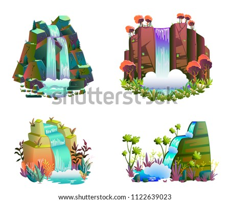 waterfalls set cartoon