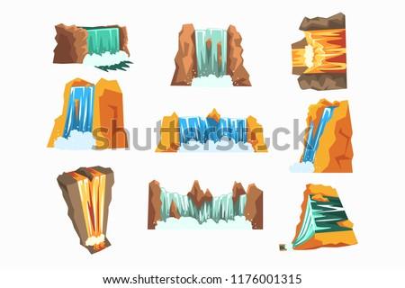 waterfalls set  cascading
