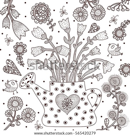 watering can garden coloring