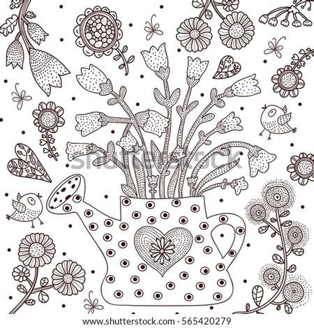 watering can garden coloring