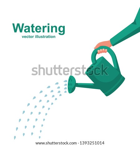 Watering can holding in hand.  Man watering with a watering can. Vector Illustration flat design. Drops of water falling. Isolated on white background. Foto stock ©