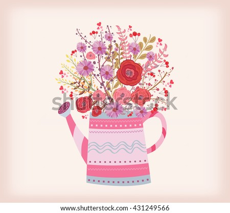 watering can with a bouquet of
