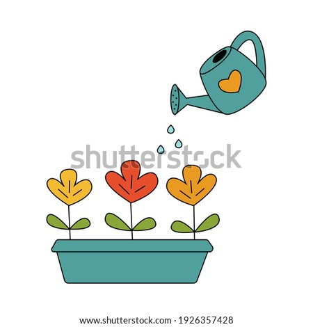 Watering flowers vector cartoon illustration. Growing plants. Irrigation. Isolated on white background. Window garden. Grow concept. Colored doodle style. Foto stock ©