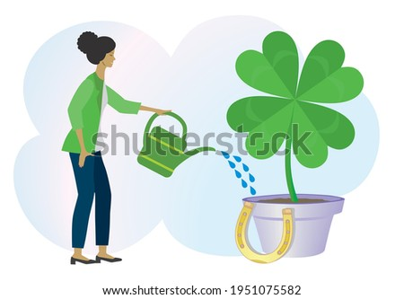 watering four leaf clover to