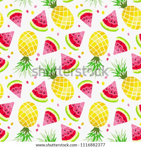Watermelon and Pineapple seamless pattern. Summer print, exotic fruit background. Slice of watermelon and yellow ananas. Vector ornament, watercolor effect.