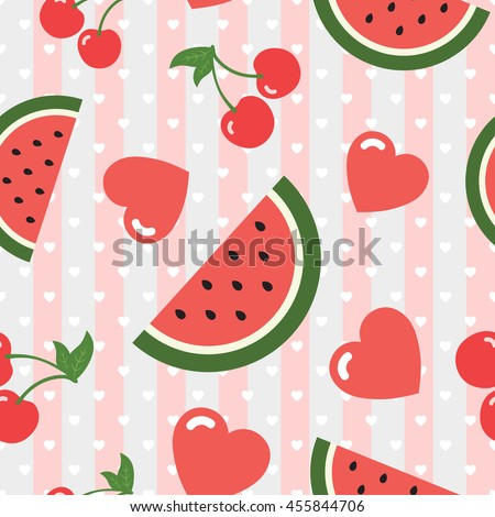 watermelon cherry and heart