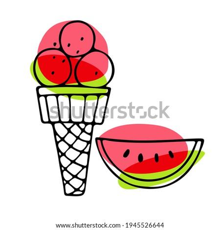 watermelon ice cream cone red