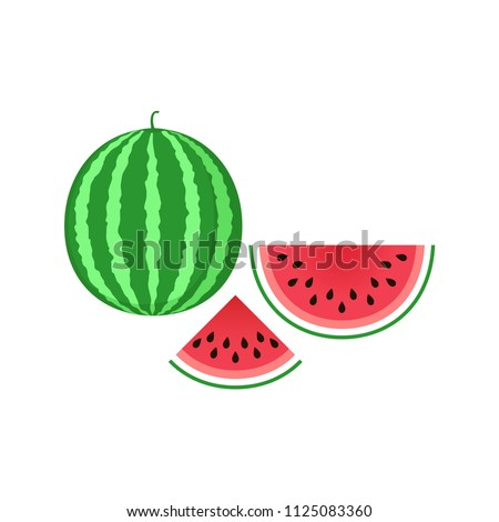 Watermelon icon. Sliced watermelon icon clip art. Clipart cartoon watermelon piece.