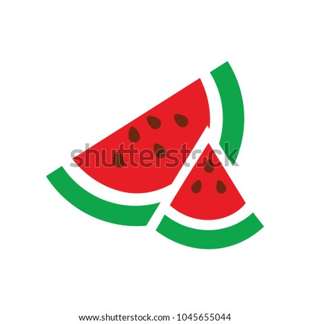 watermelon icon, vector fruit illustration, fresh watermelon slice