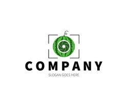 Watermelon Lens, Camera, Shutter, Photography Logo Concept. Vector Design Illustration. Symbol and Icon Vector Template.