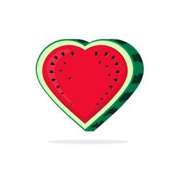 Watermelon love heart slice vector logo, vegan food like flat icon, juicy sweetness water melon, symbol of valentine day, romantic dessert, candy label modern illustration design isolated on white