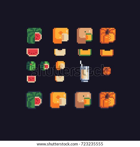 watermelon, melon and pumpkin, square shaped, pixel art icons set, vector illustration.