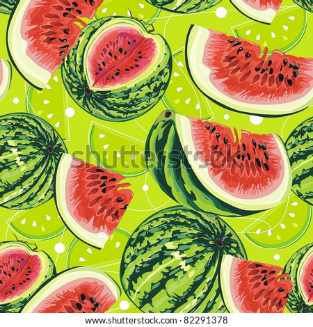 Watermelon on green background. Abstract Elegance seamless food pattern, vector illustration