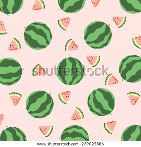Watermelon pattern. Hand drawn - stock vector