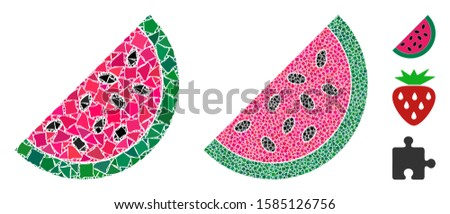 Watermelon piece icon mosaic of bumpy pieces in variable sizes and color tints, based on watermelon piece icon. Vector uneven pieces are combined into collage.