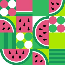 Watermelon seamless pattern. Fruit slice background in geometric style. Vegetarian food. Vector abstract illustration.