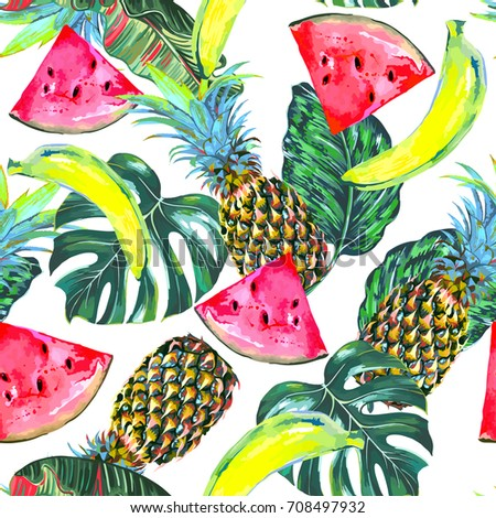 Watermelon slice, pineapples, bananas, tropical leaves, jungle monstera leaf seamless vector pattern, fresh summer natural background