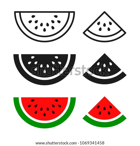Watermelon sliced ripe icon, vector isolated melon symbol set isolated on white background.