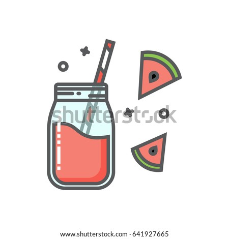 Watermelon smoothie in the mason jar outline flat icon. Watermelon slices.