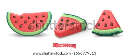 Watermelon summer fruit. Plasticine art illustration 3d vector icon set