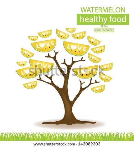 watermelon tree vector