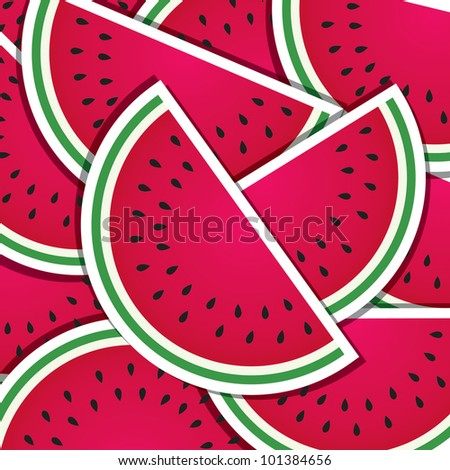 Watermelon wedge background/card in vector format.