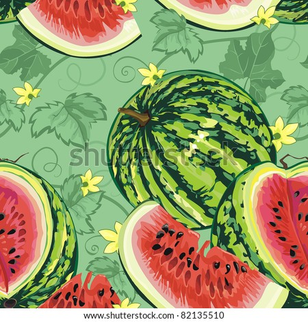 Watermelon with leaves on a green background. Abstract Elegance seamless food pattern, vector illustration