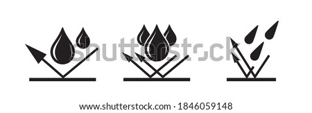 Waterproof icon, water proof drop resistant, vector. Impermeable and hydrophobic waterproof or water and liquid proof protection arrow logo Сток-фото ©