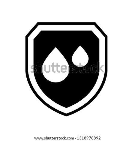 waterproof vector icon.drop and coat of arms symbol. Can be used as icon for security, protected graphic object. transparent object #1318978892