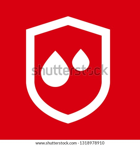 waterproof vector icon.drop and coat of arms symbol. Can be used as icon for security, protected graphic object. transparent object