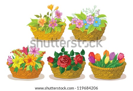 Wattled basket with flowers: alstroemeria, cosmos, lily, rose and tulip. Vector