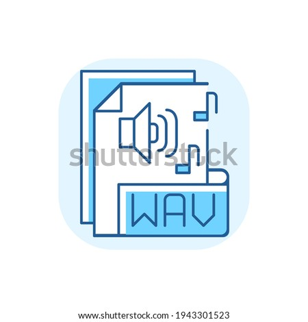 WAV file blue RGB color icon. Waveform audio file format. Storing data in segments. Uncompressed lossless audio. Maximum quality music. Waveform data. RIFF chunks. Isolated vector illustration Stock foto ©