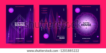 Wave Amplitude of Sound. Electronic Music Poster with Distorted Rounds and Wave Dotted Lines. Futuristic Flyer Concept for Dance Event. Vector Equalizer Design for Banner, Brochure. Movement of Dots. #1201885222