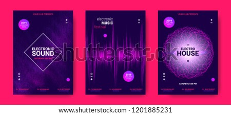 Wave Amplitude of Sound. Electronic Music Poster with Distorted Rounds and Wave Dotted Lines. Futuristic Flyer Concept for Dance Event. Vector Equalizer Design for Banner, Brochure. Movement of Dots. #1201885231