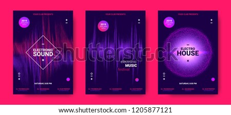 Wave Amplitude of Sound. Electronic Music Poster with Distorted Rounds and Wave Dotted Lines. Futuristic Flyer Concept for Dance Event. Vector Equalizer Design for Banner, Brochure. Movement of Dots. #1205877121