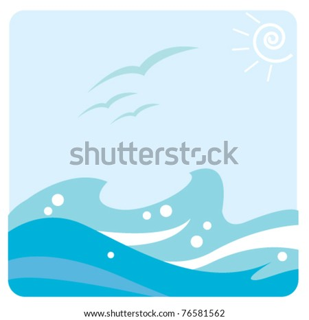 wave and bird vector background