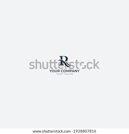Wave and letter R logo simple Photo stock ©