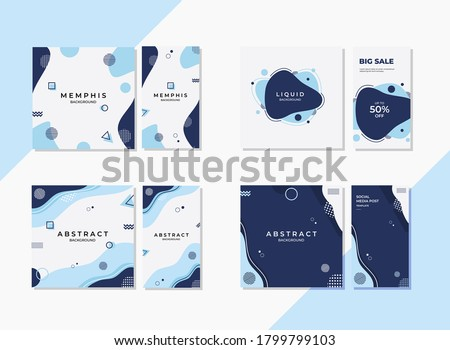 Wave and Liquid - Set of minimalist background with memphis elements. Vector graphic blue background perfect for social media post template, advertising, Backdrop and more