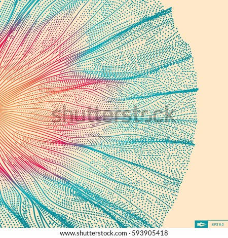 Wave Background. Abstract Vector Illustration. 3D Technology Style. Network Design with Particle. #593905418
