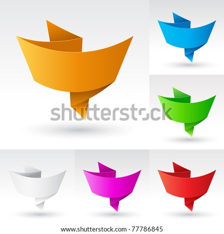 Wave Banners set number four. Illustration on white background for design - stock vector