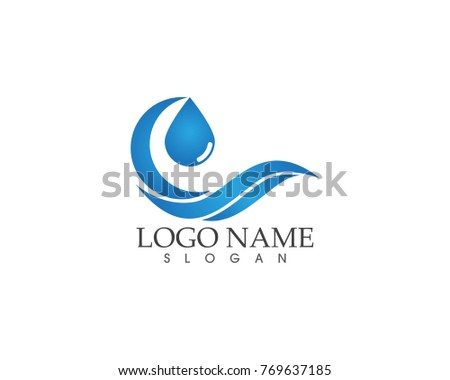 Wave beach logo design template