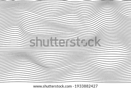 Wave black thin lines vertical curve pattern vector abstract background illustration.