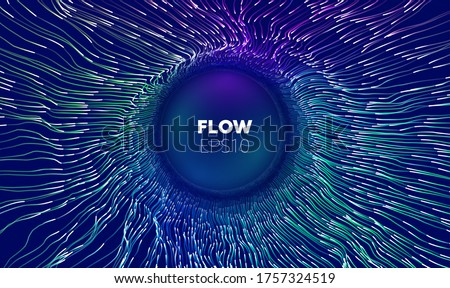 Wave flow. Technology digital wave background concept. Concentric data flow. Big data abstract vector background. Stockfoto ©