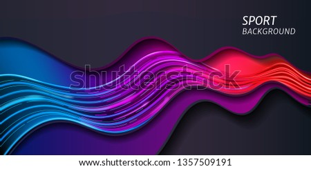 Wave for sport background or abstract music banner. Modern dynamic line motion for geometric layout. Stream of sound or speed amplitude. Colorful wallpaper. Neon line and motion, banner and advertise