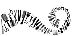 Wave from silhouettes of tools for the hairdresser. Vector illustration