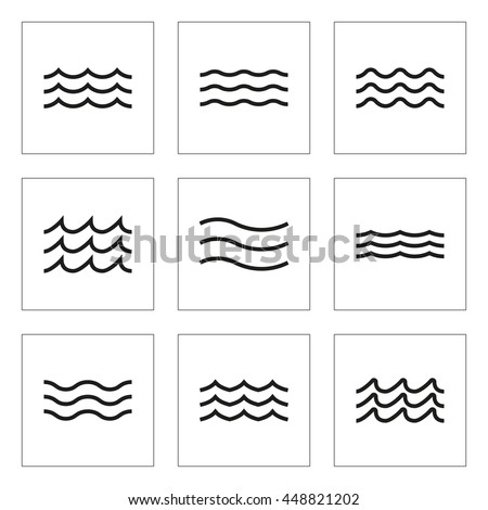 wave icon set water line signs