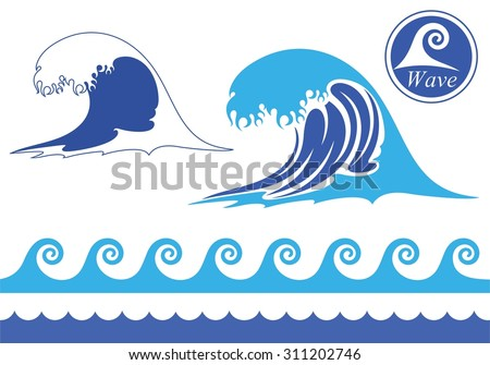 wave icon vector silhouette